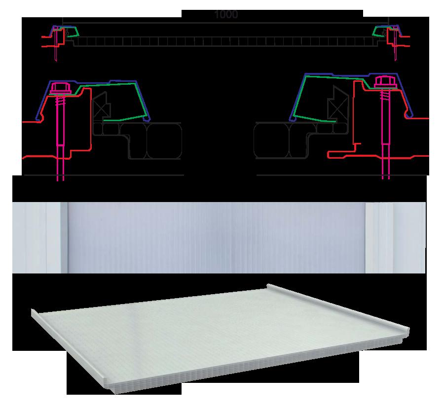 Productos paneles lucernarios perfiles de alimunio for Plafones de techo y pared